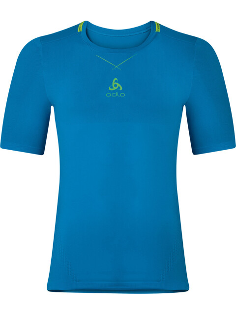 Odlo M's Ceramicool Seamless Shirt S/S Crew Neck blue jewel-safety yellow
